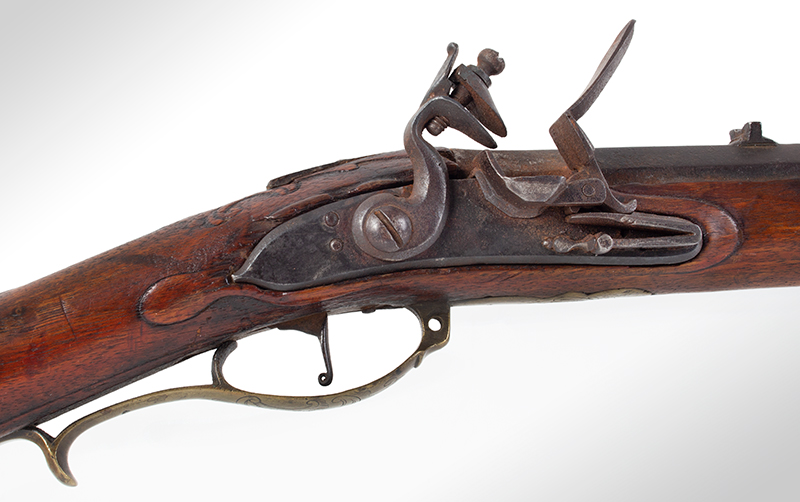 Kentucky Style Rifle, Possibly One of the Earliest Known, Original Flint, American Stocked Possibly Eastern Pennsylvania, lock plate