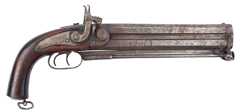 Howdah Over/Under Double-Barrel Percussion Pistol, right facing