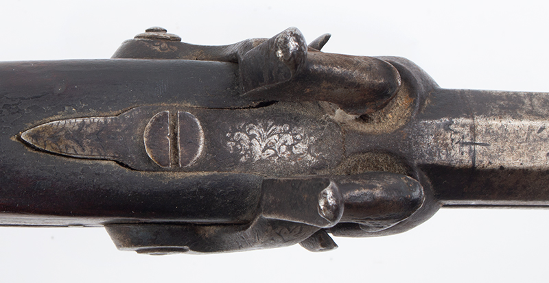 Howdah Over/Under Double-Barrel Percussion Pistol, tang view
