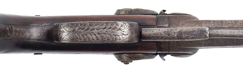 Howdah Over/Under Double-Barrel Percussion Pistol, trigger guard