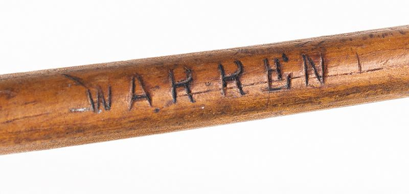 Naval Practice Sword, Single Stick [Waster] Possibly USN, Embossed: WARREN After a M1860 cutlas, detail