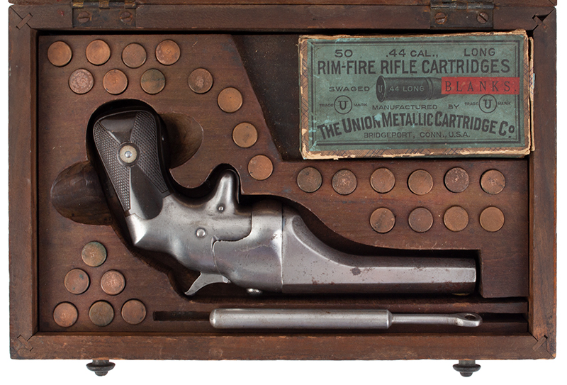CONNECTICUT ARMS & MFG. Co. Bulldog Pistol .44 Rimfire Deringer RARE Lifesaving Line Throwing Kit, Factory Wooden Case, 27 Blanks & Box, case view 2