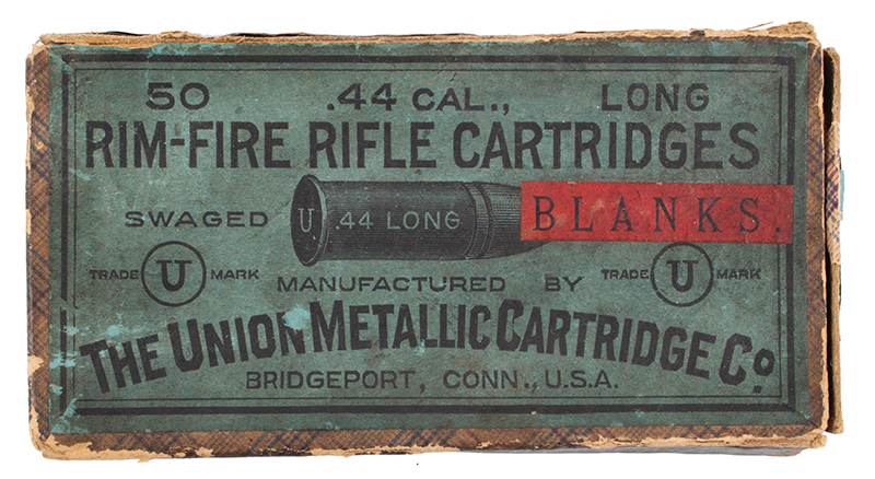 CONNECTICUT ARMS & MFG. Co. Bulldog Pistol .44 Rimfire Deringer RARE Lifesaving Line Throwing Kit, Factory Wooden Case, 27 Blanks & Box, cartridge box 1
