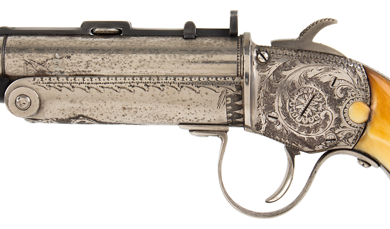 The Fine and Rare Whitmore Buggy Rifle, Outstanding  Nathaniel Whitmore & Son, Nathaniel Gilbert Whitmore  Mansfield, Massachusetts, left facing detail