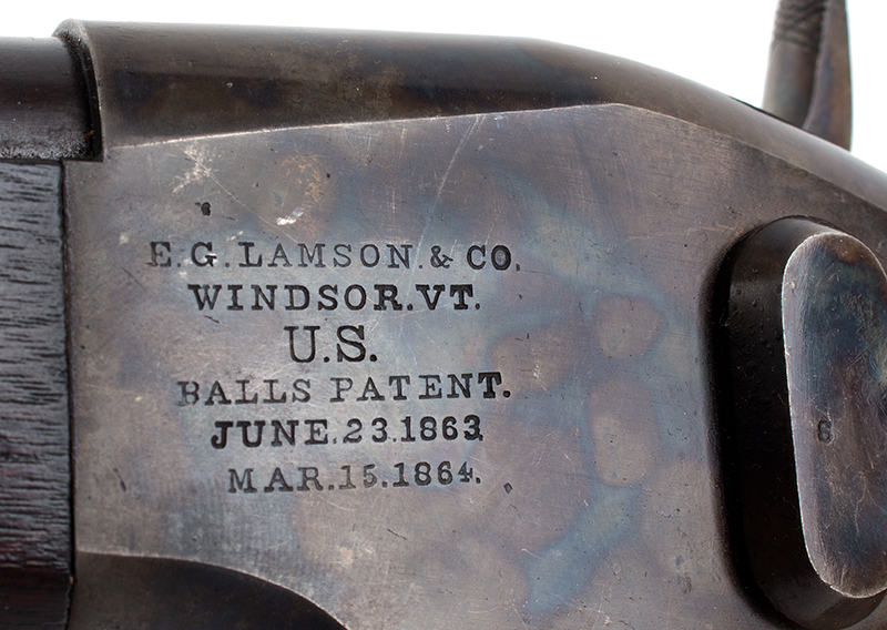 Lamson & Co., Ball Repeating Carbine, .50 Caliber, SPECTACULAR Windsor, Vermont Seven shot repeater, lever action; total manufactured: 1,000., address