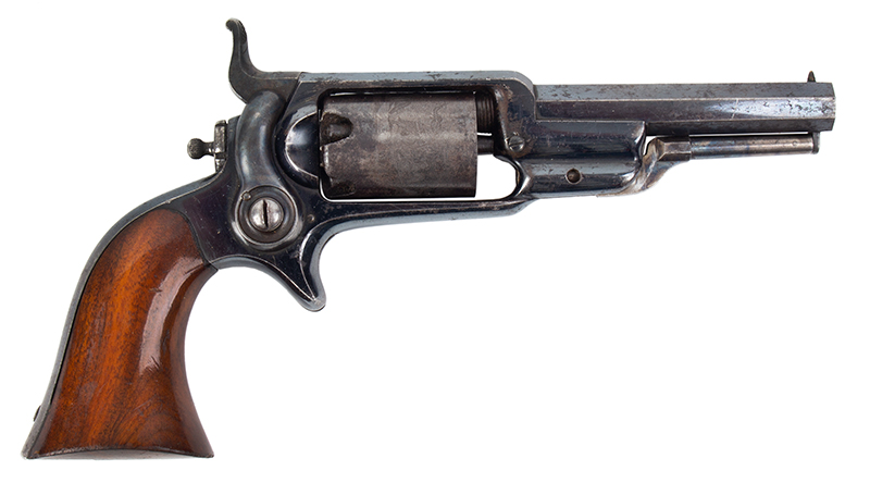 Colt Root Revolver, Model 2, Strong Cylinder Scene and Blue .28 Caliber Percussion, Serial number 10462, right facing
