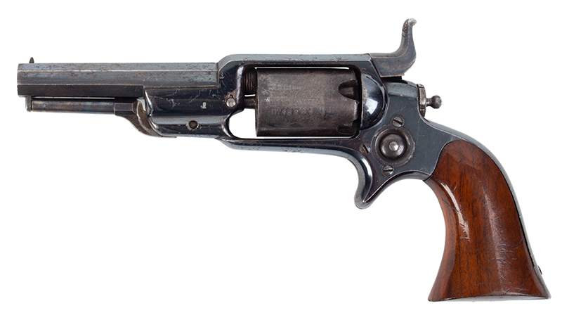 Colt Root Revolver, Model 2, Strong Cylinder Scene and Blue .28 Caliber Percussion, Serial number 10462, left facing