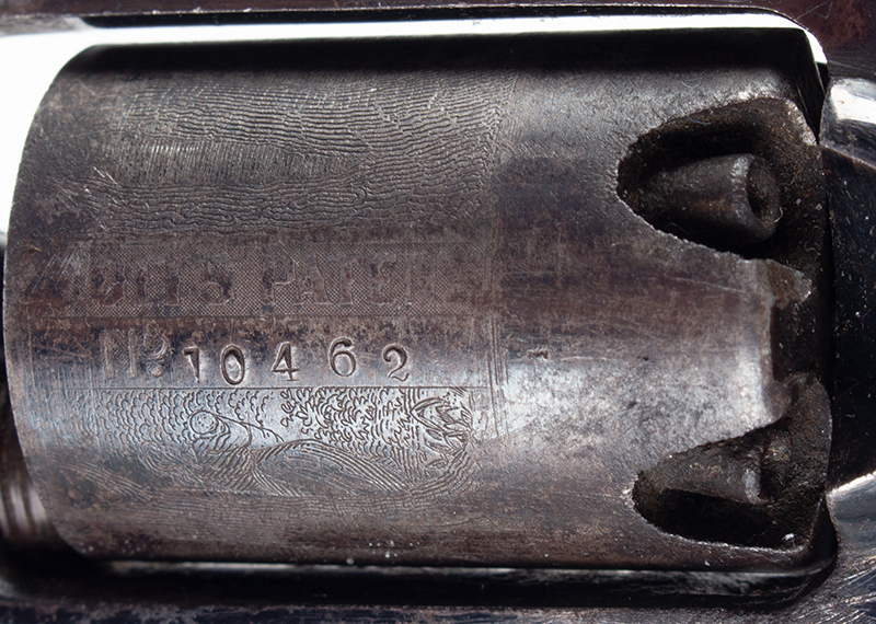 Colt Root Revolver, Model 2, Strong Cylinder Scene and Blue .28 Caliber Percussion, Serial number 10462, cylinder view 3