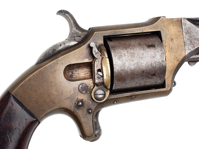Prescott Revolver, RARE Experimental Model, Serial Number 1, Loading Gate, Detachable Extractor E.A. Prescott, Worcester, Massachusetts, detail view