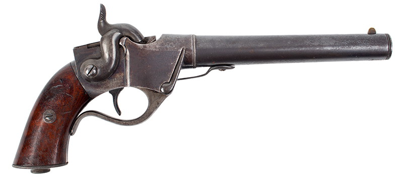 Sharps 2nd Type Single Shot Pistol, Model 1854 Breech Loading, .36 Caliber Serial Number 786, right facing