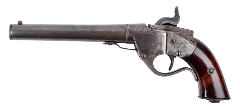 Sharps 2nd Type Single Shot Pistol, Model 1854 Breech Loading, .36 Caliber Serial Number 786, left facing