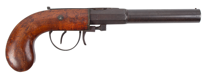 Percussion Underhammer Pistol by M. Carleton & Co., .40 Caliber Haverhill, New Hampshire, right facing