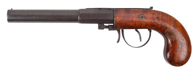 Percussion Underhammer Pistol by M. Carleton & Co., .40 Caliber Haverhill, New Hampshire, left facing