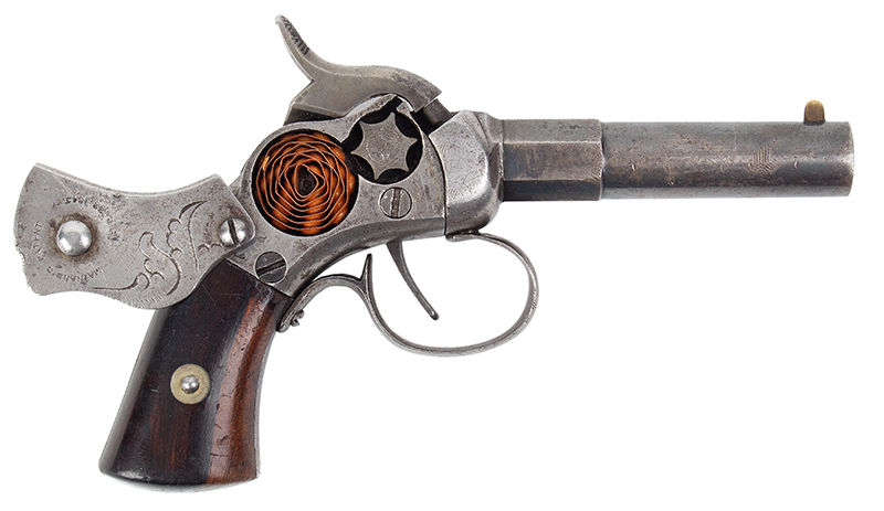 Scarce Engraved Massachusetts Arms Co. Maynard Primed Single Shot Pocket Pistol Chicopee Falls, Massachusetts, right facing 2