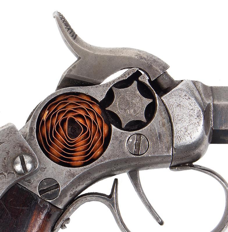 Scarce Engraved Massachusetts Arms Co. Maynard Primed Single Shot Pocket Pistol Chicopee Falls, Massachusetts, detail view 1