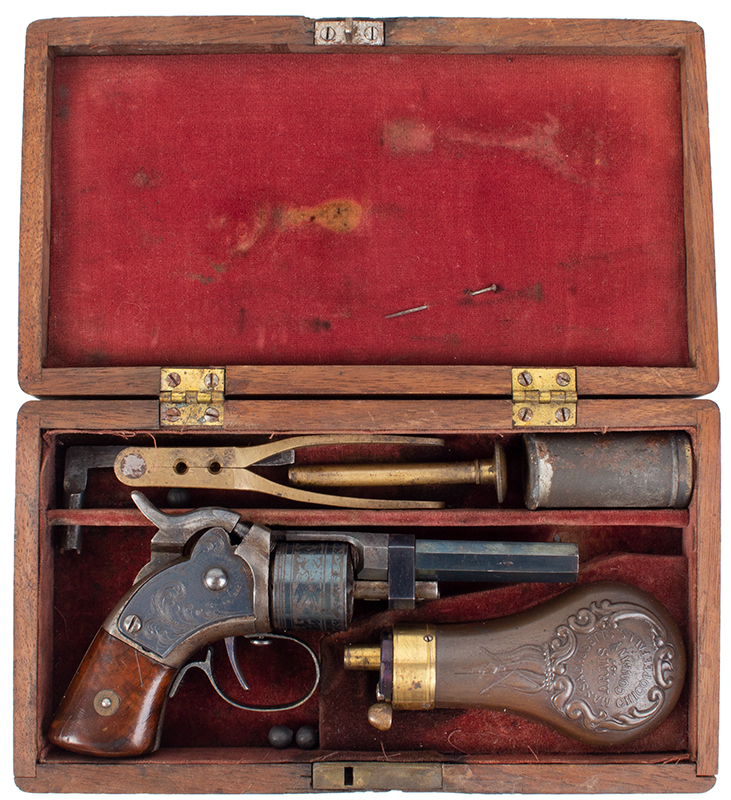 CASED Mass. Arms Co. Maynard Primed Pocket Revolver, Chicopee Falls, Mass. Manually Revolved, Earliest Type, .28-Caliber, With All Accessories, case view 2