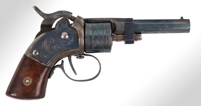 CASED Mass. Arms Co. Maynard Primed Pocket Revolver, Chicopee Falls, Mass. Manually Revolved, Earliest Type, .28-Caliber, With All Accessories, right facing