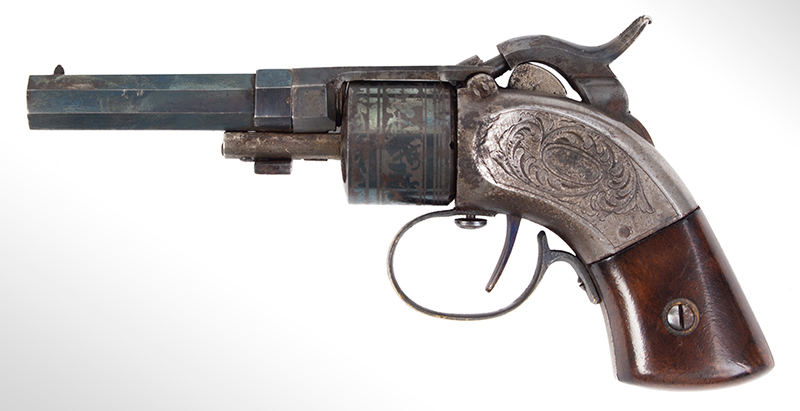 CASED Mass. Arms Co. Maynard Primed Pocket Revolver, Chicopee Falls, Mass. Manually Revolved, Earliest Type, .28-Caliber, With All Accessories, left facing