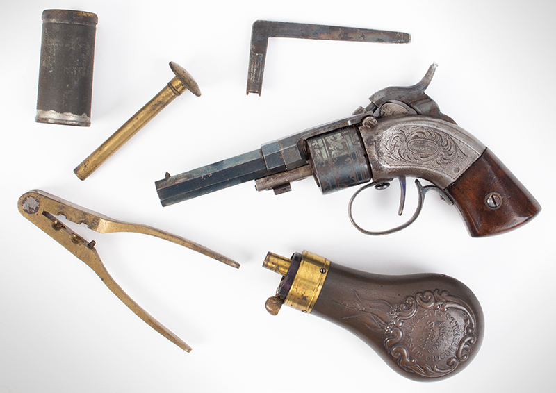 CASED Mass. Arms Co. Maynard Primed Pocket Revolver, Chicopee Falls, Mass. Manually Revolved, Earliest Type, .28-Caliber, With All Accessories, accessories
