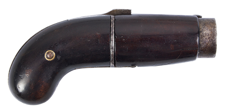 Bicycle Handlebar Pepperbox, Rare Firearms Curiosa, 6 Shot, Double Action, Pinfire See Firearms Curiosa by Lewis Wynant, Pages 154 and 155…A True Oddity!, right facing trigger up