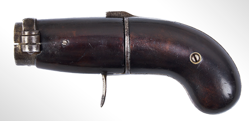 Bicycle Handlebar Pepperbox, Rare Firearms Curiosa, 6 Shot, Double Action, Pinfire See Firearms Curiosa by Lewis Wynant, Pages 154 and 155…A True Oddity!, left facing