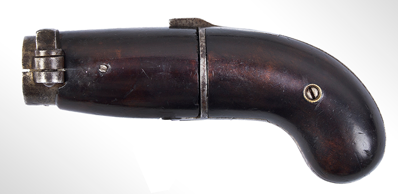 Bicycle Handlebar Pepperbox, Rare Firearms Curiosa, 6 Shot, Double Action, Pinfire See Firearms Curiosa by Lewis Wynant, Pages 154 and 155…A True Oddity!, left facing trigger up