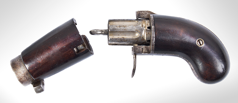 Bicycle Handlebar Pepperbox, Rare Firearms Curiosa, 6 Shot, Double Action, Pinfire See Firearms Curiosa by Lewis Wynant, Pages 154 and 155…A True Oddity!, entire view 3