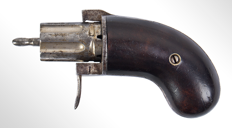 Bicycle Handlebar Pepperbox, Rare Firearms Curiosa, 6 Shot, Double Action, Pinfire See Firearms Curiosa by Lewis Wynant, Pages 154 and 155…A True Oddity!, left facing 2