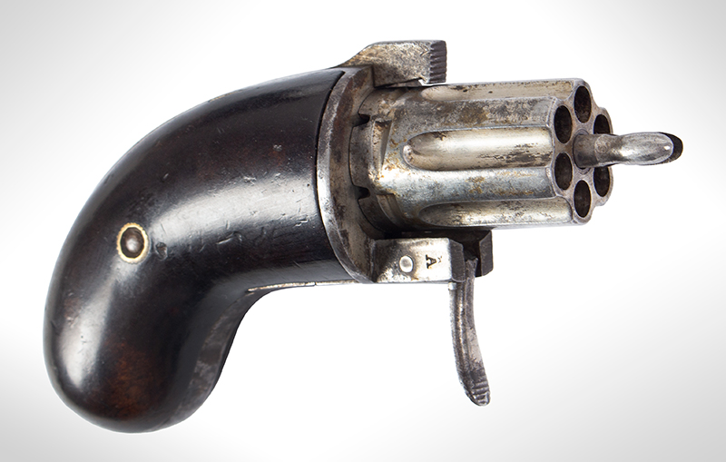 Bicycle Handlebar Pepperbox, Rare Firearms Curiosa, 6 Shot, Double Action, Pinfire See Firearms Curiosa by Lewis Wynant, Pages 154 and 155…A True Oddity!, angle view