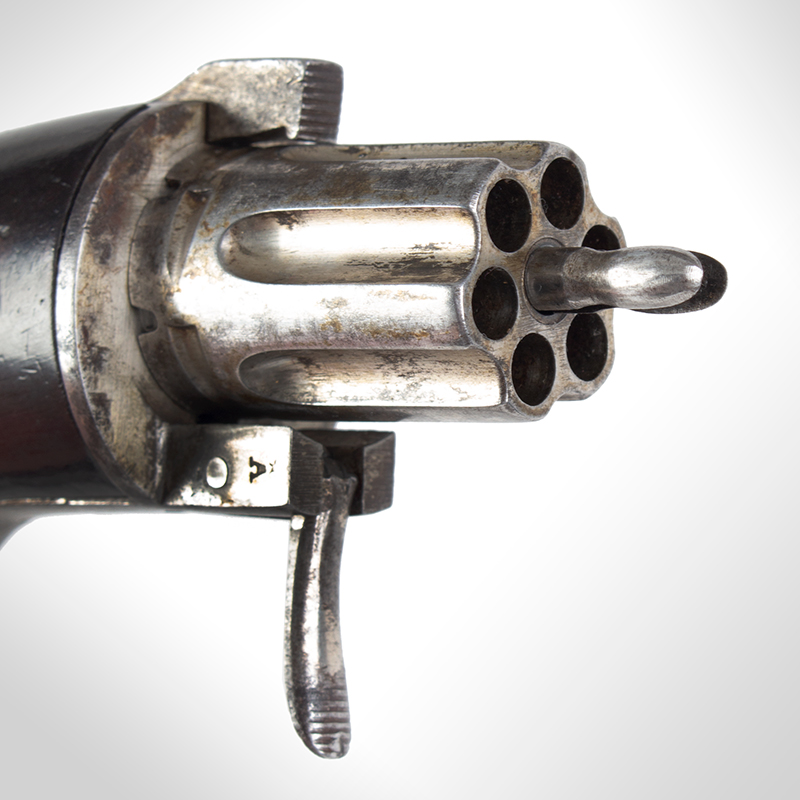 Bicycle Handlebar Pepperbox, Rare Firearms Curiosa, 6 Shot, Double Action, Pinfire See Firearms Curiosa by Lewis Wynant, Pages 154 and 155…A True Oddity!, detail view