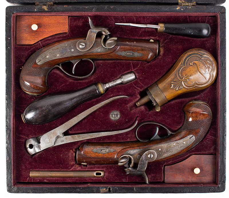 Rare Cased & Matched Pair of Gold & Silver Mounted Henry Deringer Medium Size Pistols Cased with All Accessories, OUTSTANDING, Among the Top Three Sets Extant, NEAR MINT, entire view 1