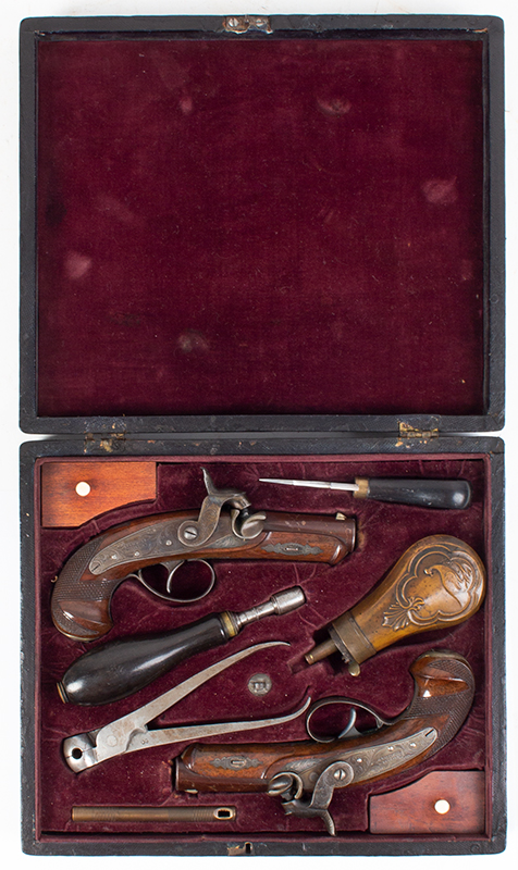 Rare Cased & Matched Pair of Gold & Silver Mounted Henry Deringer Medium Size Pistols Cased with All Accessories, OUTSTANDING, Among the Top Three Sets Extant, NEAR MINT, entire view 2