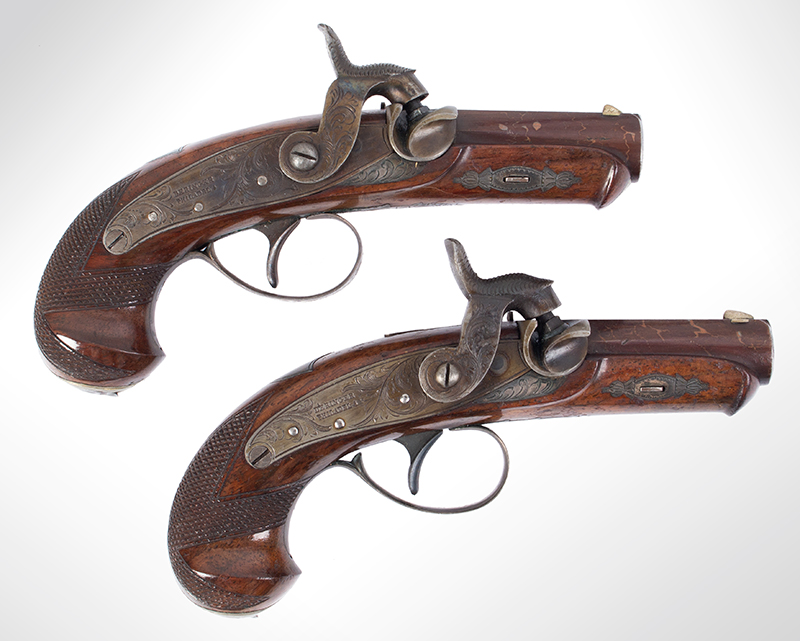 Rare Cased & Matched Pair of Gold & Silver Mounted Henry Deringer Medium Size Pistols Cased with All Accessories, OUTSTANDING, Among the Top Three Sets Extant, NEAR MINT, right facing