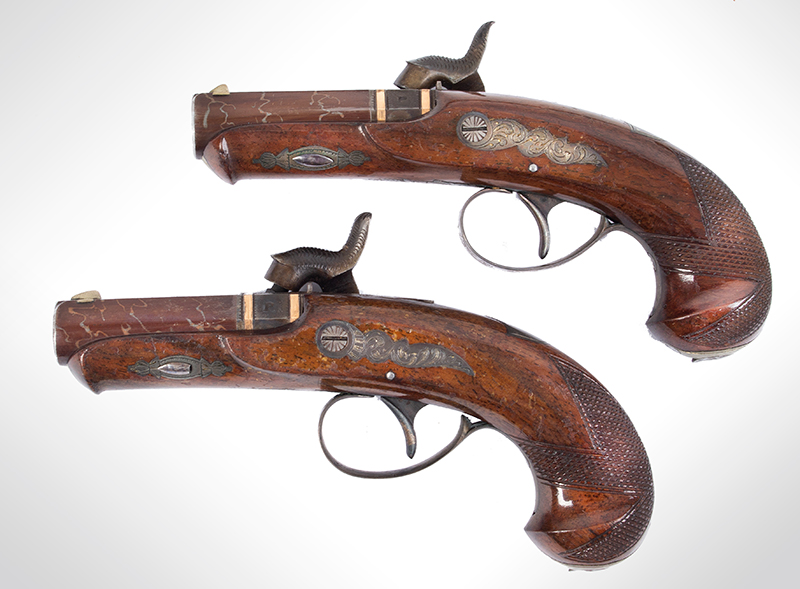 Rare Cased & Matched Pair of Gold & Silver Mounted Henry Deringer Medium Size Pistols Cased with All Accessories, OUTSTANDING, Among the Top Three Sets Extant, NEAR MINT, left facing