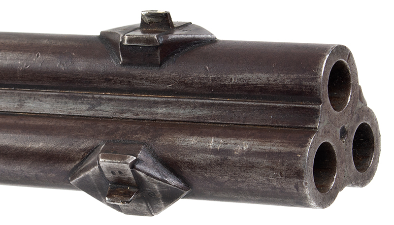 Three-barrel Revolving Rifle by Alfred Marion Cone, Likely Best Example Extant Finely engraved, fine checkered wrist, smooth metal surfaces, plumb brown & gray: outstanding architecture, great drop, and delicate graceful wrist., barrel