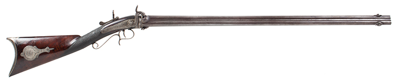 Three-barrel Revolving Rifle by Alfred Marion Cone, Likely Best Example Extant Finely engraved, fine checkered wrist, smooth metal surfaces, plumb brown & gray: outstanding architecture, great drop, and delicate graceful wrist., right facing