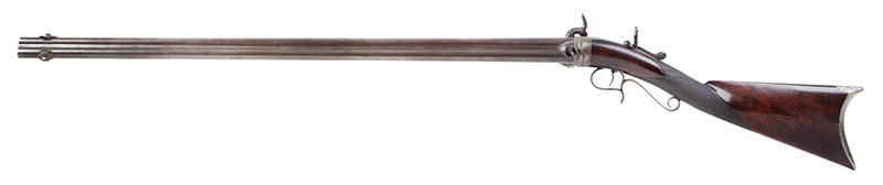 Three-barrel Revolving Rifle by Alfred Marion Cone, Likely Best Example Extant Finely engraved, fine checkered wrist, smooth metal surfaces, plumb brown & gray: outstanding architecture, great drop, and delicate graceful wrist., left facing