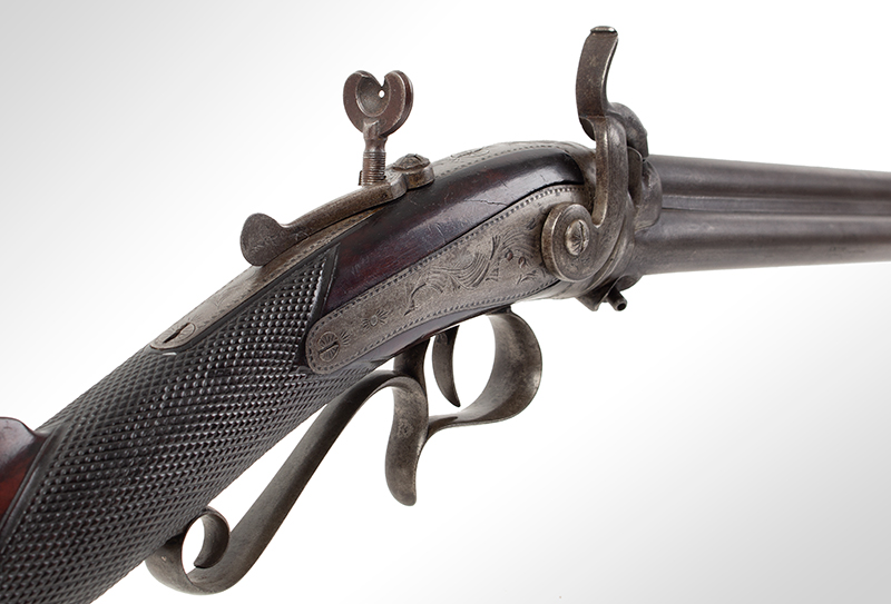 Three-barrel Revolving Rifle by Alfred Marion Cone, Likely Best Example Extant Finely engraved, fine checkered wrist, smooth metal surfaces, plumb brown & gray: outstanding architecture, great drop, and delicate graceful wrist., sight 1