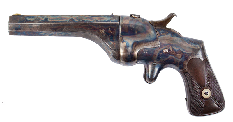 Hammond Bull Dog Derringer, .44-Caliber, Connecticut Arms, Rare WITH Case Color Incredible Case Color!! 90% Remaining, Original Brown Rubber Grips Largest Caliber Derringer Made in America., left facing