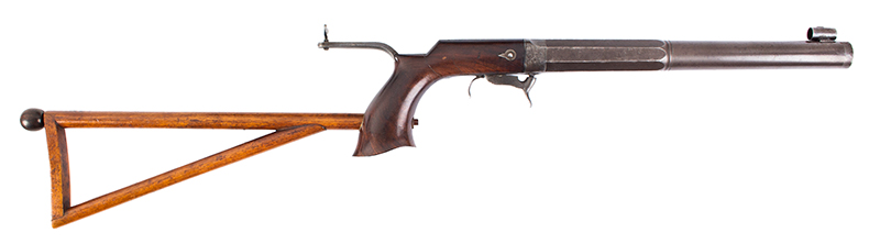 William Billinghurst Jr., Buggy Rifle, Shooter's Box, Detachable Stock & Accessories Medium Frame, 10-inch .28-caliber barrel, no serial number…, entire view 1