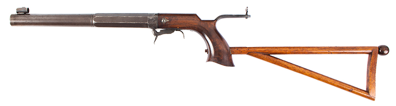 William Billinghurst Jr., Buggy Rifle, Shooter's Box, Detachable Stock & Accessories Medium Frame, 10-inch .28-caliber barrel, no serial number…, entire view 2