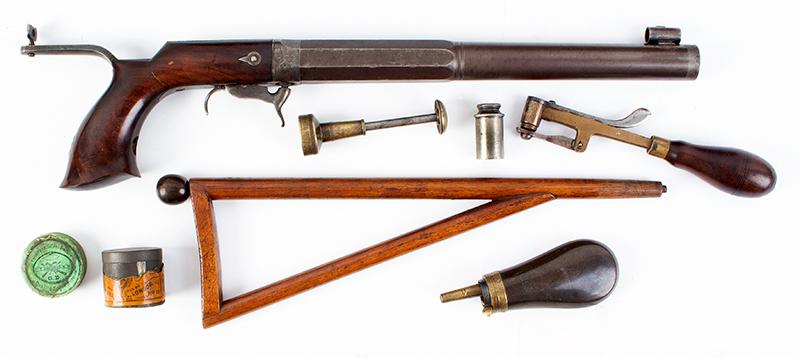 William Billinghurst Jr., Buggy Rifle, Shooter's Box, Detachable Stock & Accessories Medium Frame, 10-inch .28-caliber barrel, no serial number…, accessories