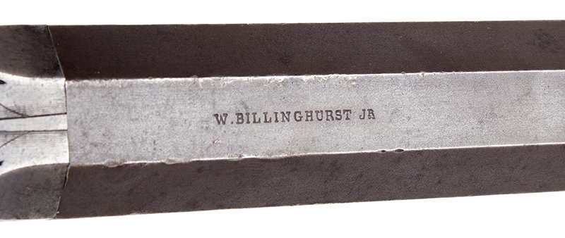 William Billinghurst Jr., Buggy Rifle, Shooter's Box, Detachable Stock & Accessories Medium Frame, 10-inch .28-caliber barrel, no serial number…, detail view