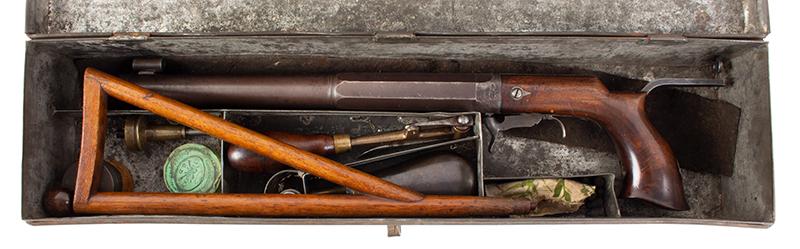 William Billinghurst Jr., Buggy Rifle, Shooter's Box, Detachable Stock & Accessories Medium Frame, 10-inch .28-caliber barrel, no serial number…, incase view