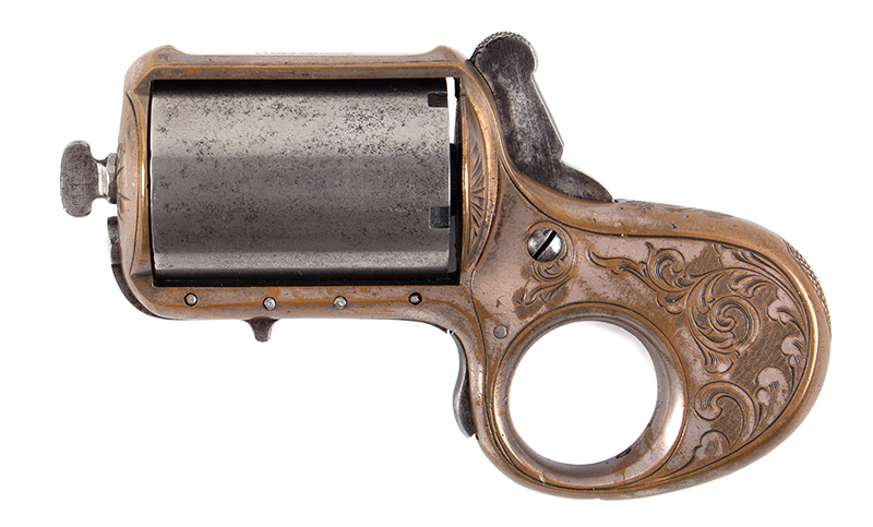 James Reid Catskill Knuckleduster, Marked: JAMES REID'S DERRINGER Patd. Dec. 26 1865 Only 16 of Total Production [150 units] Extant, 40% Original Silver, Serial Number: 8982, entire view 2