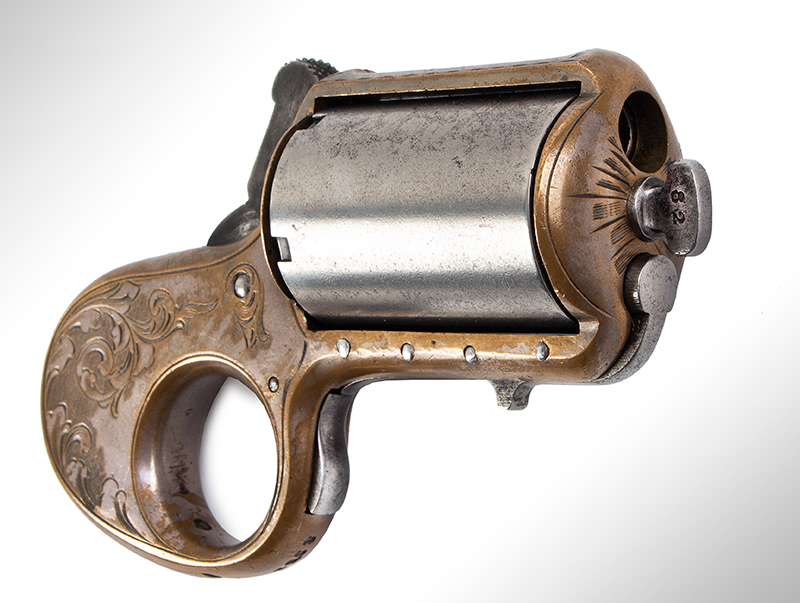 James Reid Catskill Knuckleduster, Marked: JAMES REID'S DERRINGER Patd. Dec. 26 1865 Only 16 of Total Production [150 units] Extant, 40% Original Silver, Serial Number: 8982, entire view 3