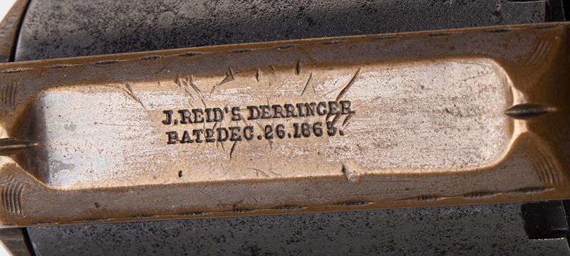 James Reid Catskill Knuckleduster, Marked: JAMES REID'S DERRINGER Patd. Dec. 26 1865 Only 16 of Total Production [150 units] Extant, 40% Original Silver, Serial Number: 8982, detail 1