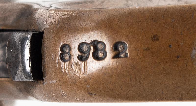 James Reid Catskill Knuckleduster, Marked: JAMES REID'S DERRINGER Patd. Dec. 26 1865 Only 16 of Total Production [150 units] Extant, 40% Original Silver, Serial Number: 8982, detail 2