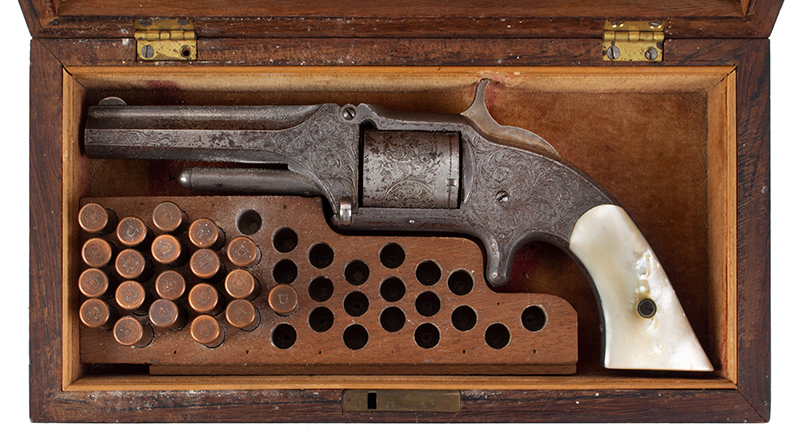 Deluxe Cased Smith & Wesson Nimschke Engraved 1 ½ Old Model, Beautiful Silver Frame, Gold Flashed Hammer, Deluxe Factory Rosewood Case, 20 Cartridges, entire view 1