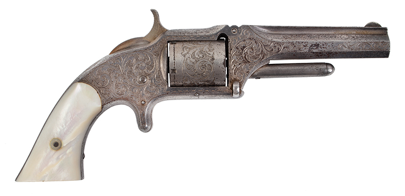 Deluxe Cased Smith & Wesson Nimschke Engraved 1 ½ Old Model, Beautiful Silver Frame, Gold Flashed Hammer, Deluxe Factory Rosewood Case, 20 Cartridges, entire view 2